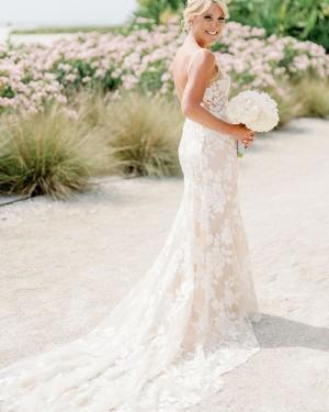 Lace Mermaid Champagne V-neck Wedding Dress WD2305