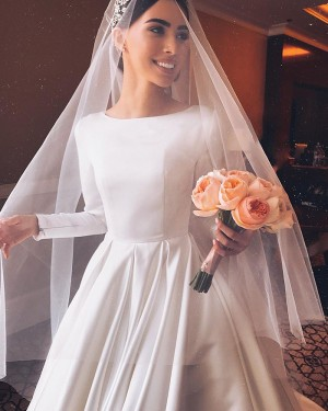 White Jewel Neck Satin Wedding Dress with Long Sleeves WD2306