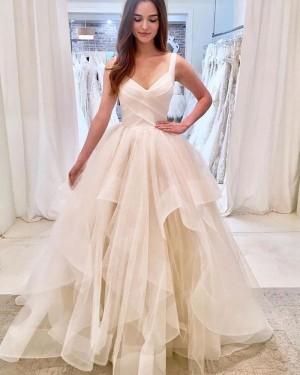 Ivory Strapless Ruffled V-neck Tulle Wedding Dress WD2309