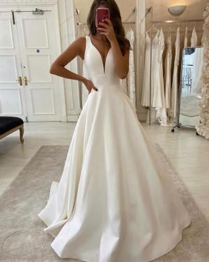 White Satin Simple V-neck Wedding Dress for Fall WD2310