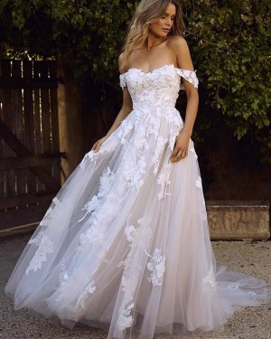 Lace Off the Shoulder Applique Wedding Dress WD2311