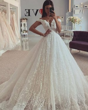 Ivory Off the Shoulder Pleated Lace Wedding Gown WD2313