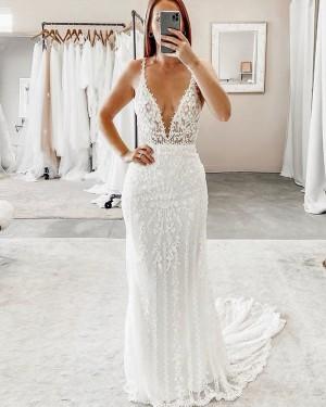 Deep V-neck White Lace Sheath Wedding Dress WD2315