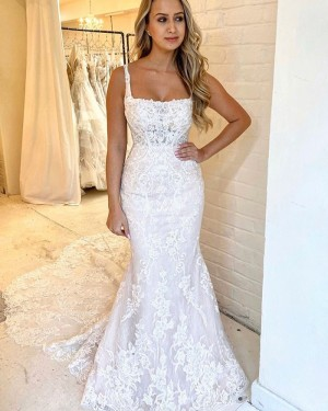 Square Neckline Mermaid Lace Wedding Dress with Chapel Train WD2316