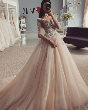Lace Bodice V-neck Champagne Beading Pleated Wedding Gown with Long Sleeves WD2317