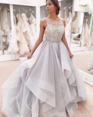 Lace Sequin Bodice Grey Scoop Ruffled Wedding Dress WD2320
