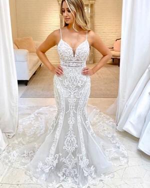 Lace Mermaid Spaghetti Straps Ivory Wedding Dress WD2322