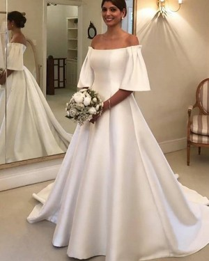 Satin A-line White Off the Shoulder Wedding Dress with Short Sleeves WD2324