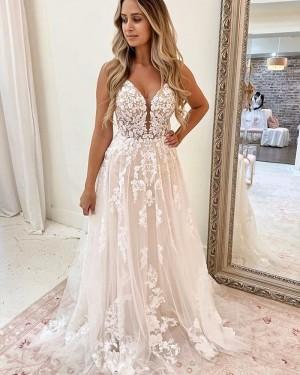 Lace Applique Ivory Spaghetti Straps A-line Wedding Dress WD2325