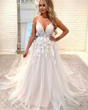Sparkle Spaghetti Straps Lace Applique Wedding Dress WD2326