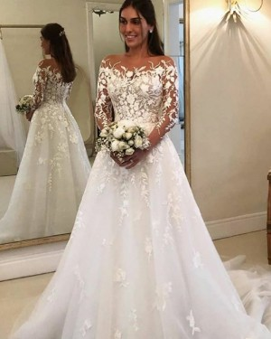 White Bateau Neckline Lace Applique Wedding Dress with Long Sleeves WD2327