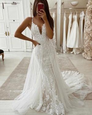 V-neck Lace Mermaid Wedding Dress with Detachable Train WD2328