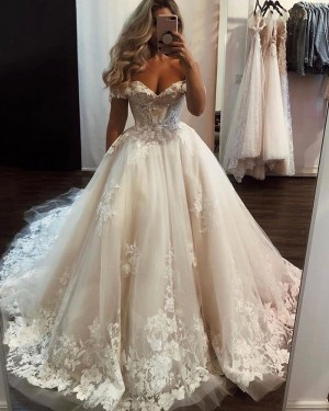 Tulle Ivory Lace Applique Off the Shoulder Wedding Dress WD2329