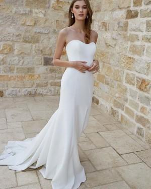 White Satin Simple Sweetheart Mermaid Wedding Dress for Fall WD2332
