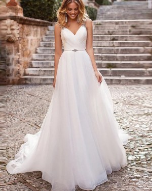 White Ruched Tulle V-neck Beading Simple Wedding Dress WD2334