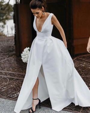 Satin V-neck White Simple Wedding Dress with Slit WD2335