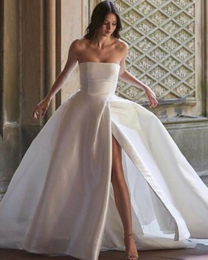 Satin White Simple Strapless Wedding Dress for Fall with Slit WD2336