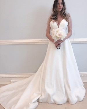 Satin A-line Spaghetti Straps Simple Wedding Dress WD2337