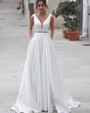 White A-line V-neck Satin Simple Wedding Dress with Pockets WD2338