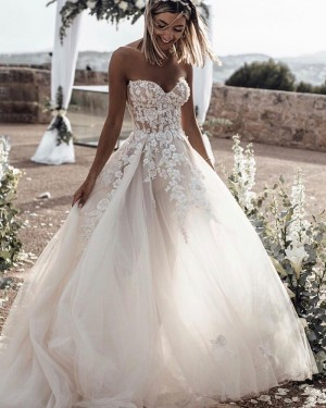 Tulle Sweetheart Lace Applique Wedding Dress WD2339