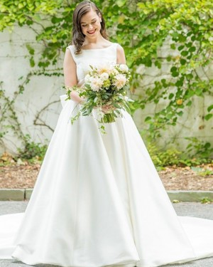 Satin Simple Jewel Neckline Wedding Dress with Bowknot for Fall WD2345
