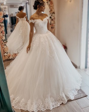 Off the Shoulder Lace Applique Tulle White A-line Wedding Dress WD2400