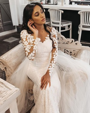 White Lace Long Sleeve Mermaid V-neck Wedding Dress with Detachable Tulle Train WD2401