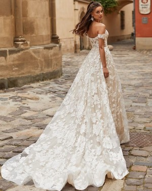 Lace Ivory A-line Off the Shoulder Vintage Wedding Dress WD2402