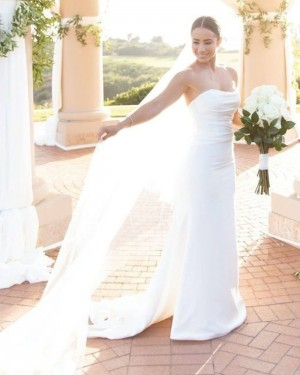 White Sheath Simple Strapless Wedding Dress for Spring WD2403