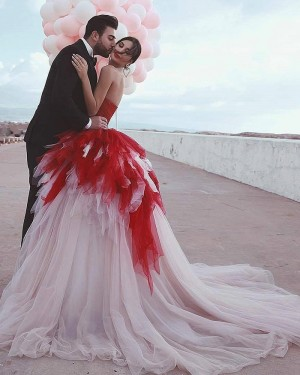 Sweetheart Red & Ivory Tulle Ruffled Wedding Dress WD2404