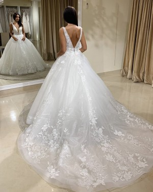 White Tulle V-neck Lace A-line Wedding Dress WD2405