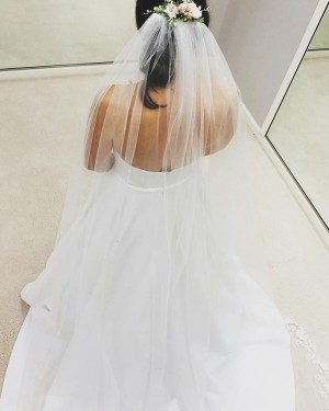 Strapless Satin White Simple Wedding Dress with Pockets WD2406