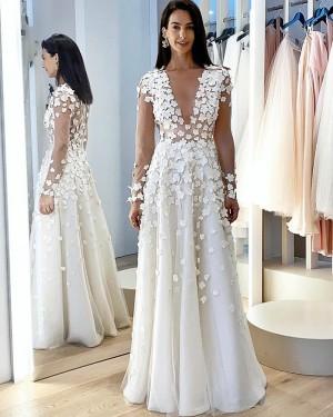 Long Sleeve Jewel Neckline White A-line Wedding Dress with Handmade Flowers WD2407