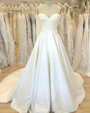 Satin White Sweetheart Simple Wedding Dress with Court Train WD2408