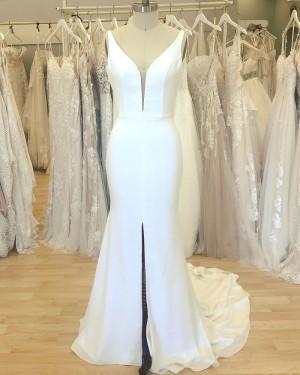 V-neck Satin White Mermaid Simple Wedding Dress with Middle Slit WD2409