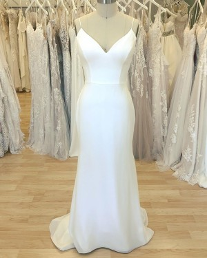 Spaghetti Straps White Simple Sheath Wedding Dress for Spring WD2410