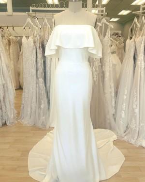 Simple White Cowl Neckline Satin Sheath Wedding Dress WD2411