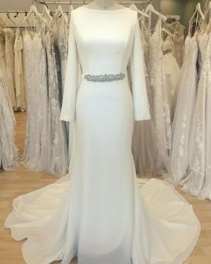 White Satin Simple Bateau Sheath Wedding Dress with Long Sleeves WD2412