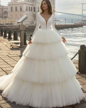 V-neck Ruffle Long Sleeve Simple White Wedding Dress with Layered Skirts WD2413