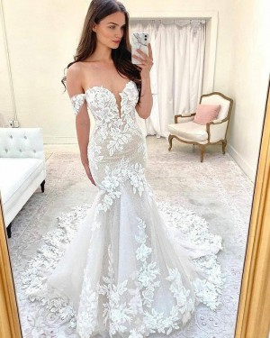 Lace Mermaid Off the Shoulder Ivory Wedding Dress with Court Train WD2414