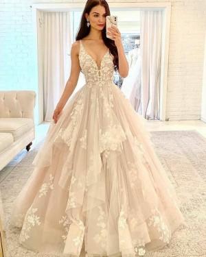 Ruffle Lace Applique V-neck Ivory Tulle Wedding Dress WD2415