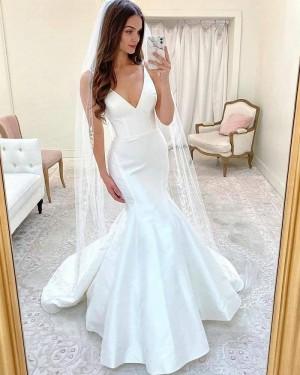 White Mermaid Simple Spaghetti Straps Wedding Dress WD2416