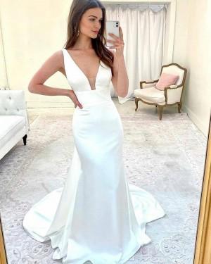 Satin Sheath Simple V-neck Wedding Dress WD2417