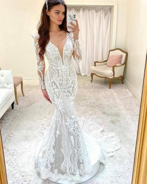 Lace Mermaid White V-neck Wedding Dress with Long Sleeves WD2418