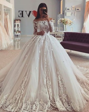 Applique Lace Off the Shoulder Ball Gown Wedding Dress WD2419