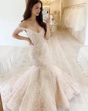 Lace V-neck Mermaid Ivory Wedding Dress WD2420