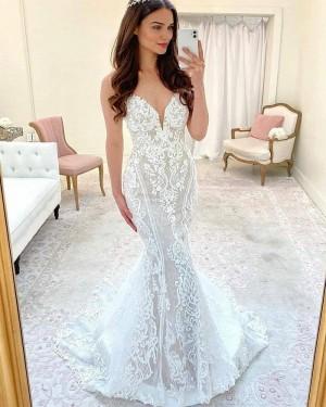 Lace Mermaid White Spaghetti Straps Wedding Dress with Court Train WD2421