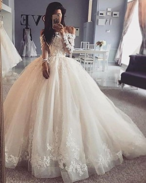 Lace Bodice Ivory Off the Shoulder Ivory Ball Gown Wedding Dress with Long Sleeves WD2422