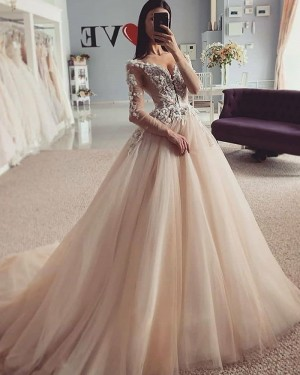 Beading Lace Bodice V-neck Champagne Wedding Dress with Long Sleeves WD2423
