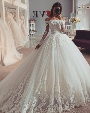 Lace Applique White Off the Shoulder Wedding Dress with Long Sleeves WD2424